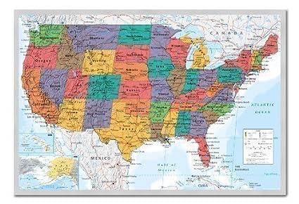 iPosters Pinnwand mit Pinnwand, Motiv: USA Map, mit Pinnen, 96,5 x 66 cm,  silberfarben