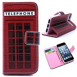 QJM The Simulation Telephone Booth Pattern PU Leather Full Body Case with Stand and Money Holder for iPhone 5/5S