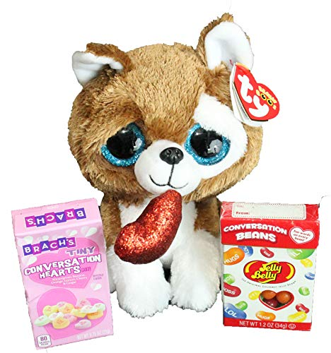 (Twisted Anchor Trading Co TY Smootches Puppy Dog Plush Bag Set 3 PC with Jelly Belly Gift Box and Conversation Hearts )