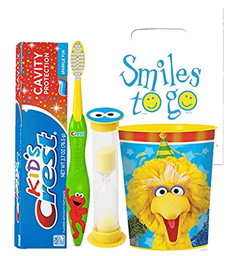 Sesame Street 4pc Bright Smile Oral Hygiene Bundle! Toothbrush, Crest Kids Toothpaste, Brushing Timer & Mouthwash Rinse Cup! Plus Dental Gift & Remember to Brush Visual Aid!