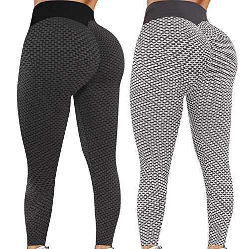 2 Pack Tik Tok Leggings, Butt Lift Leggings for Women, Yoga Pants for women butt lifting Tummy Control-Black+Grey  M