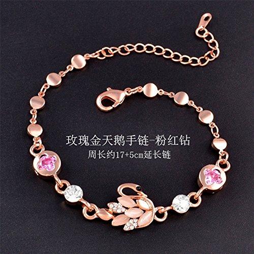 Heart-Shaped Rose Gold Bracelet Bangle Unique Multi-Layer Fashion Jewelry Hand Bracelets Purple Crystal Opal (swan Rose Gold Bracelet - Pink Diamond