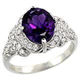 14k White Gold Natural Amethyst Ring Diamond Halo Oval 10x8mm, 1/2 inch wide, size 5