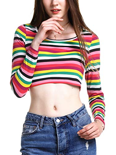 (Beluring Womens Long Sleeve Striped Crew Neck Casual Cute Crop Top Short T)