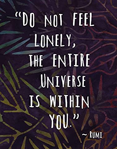 Colorful Batik Pattern Art Print ~ RUMI Spiritual Quote: 'The Entire Universe is Within You' (8