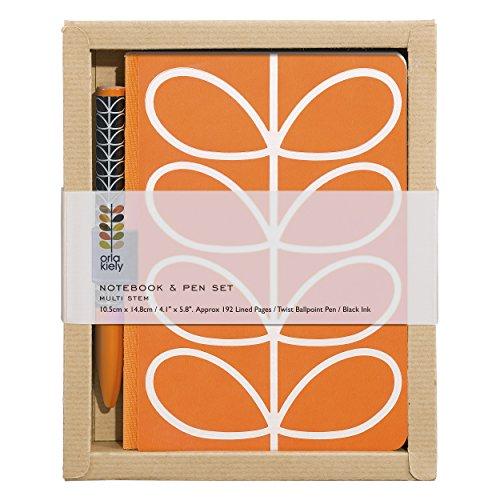 Orla Kiely | Pocket A5 Notebook and Pen Set | Linear Stem Design - Orla Kiely Stationery