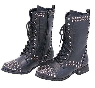 Jamin' Leather Women's Studded Combat Boots w/Zipper (6) #BLC523LSK
