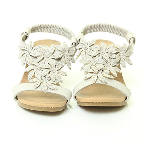 Womens Ladies Mid Heel Footbed Wedge Floral t-Bar Diamante Summer Sandals Shoes Size 3-8 Grey 3k0Listo