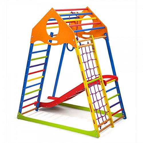 Escalera Sueco Red de Escalada Campo de Juego Infantil Anillos Centro de Actividades con Tobog/án ˝Kindwood-Color-1˝