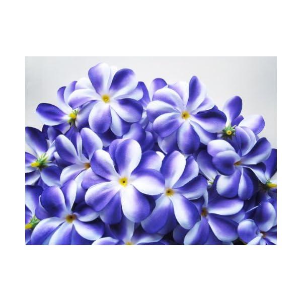 (100) Purple White Hawaiian Plumeria Frangipani Silk Flower Heads – 3″ – Artificial Flowers Head Fabric Floral Supplies Wholesale Lot for Wedding Flowers Accessories Make Bridal Hair Clips Headbands Dress
