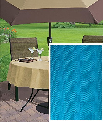 Newbridge Aidan Bright Summer/Spring Dobby Weave Indoor/Outdoor Soil Resistant and Water Repellent Fabric Tablecloth, 70 Inch Round Zippered Umbrella Hole Patio Tablecloth, Summer Blue
