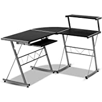 Office Computer Desk Corner Table Metal Pull-Out Keyboard Tray Top Shelf Black Home Office Study Student