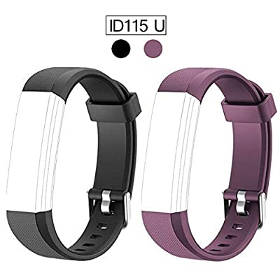 ID115U Replacement Bands for Fitness Tracker ID115U ID115U HR ID115UHR, Adjustable Wristbands Smart Watch Straps with Fashion Charm Color Black Purple (NOT for ID115, ID115 HR, ID115 Plus, ID115 Plus