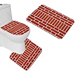 oFloral 3 Pieces Bathroom Rugs Wall Brick Texture Bath Mat,One Contour Rug and One Toilet Lid Cover