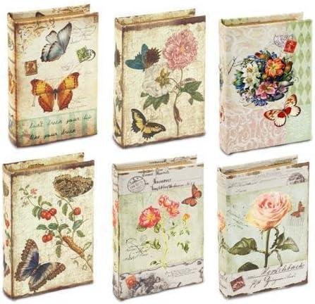 Caja en forma de libro x6 flores 13 x 9 cm: Amazon.es: Hogar
