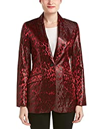 Anne Klein Women\'s Shiny Leopard Jacquard Jacket, Titian Red/Black, 4