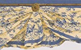 Window Valance Blue on Yellow Wallpaper Border Retro Design, Roll 15' x 5''