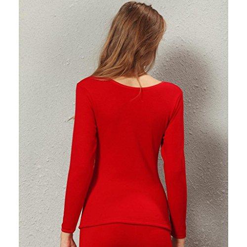 Liang Rou top térmico con cuello elástico de manga larga de lana forrada Red