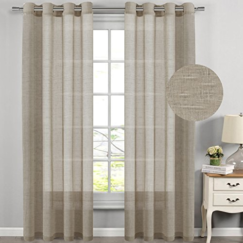 H.Versailtex Breathable And Airy Natural Linen And Poly Mixed Extra Long  Sheer Curtains   2 Panels   Nickel Grommet Panel Drapes For Living Room (52  Inch By ... Part 11