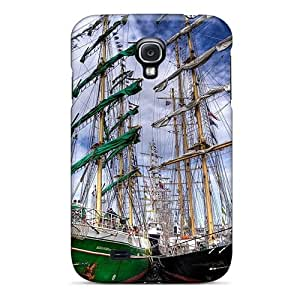 Tpu Case Cover Compatible For Galaxy S4/ Hot Case/ Mighty Sail Ships Docked Hdr