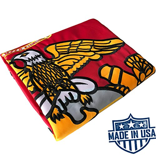 US Marine Corps Flag 3x5 for Outdoor Made in USA - Heavy Duty All Weather USMC Flag 2-ply with Magnificent Double-Sided Embroidery - UV Protected - Brass Grommets - Long Lasting Nylon Marines Flag