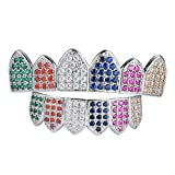 Homyl 18K White Gold Plated Grill Multi-Color Bling Cubic Zirconia Teeth Grills Hip Hop