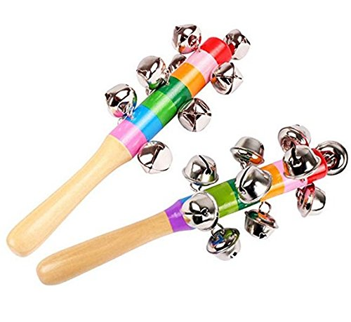 2 Pcs Vivid Color Rainbow Handle Wooden Bells Jingle Stick Shaker Rattle Baby Kids Children Musical Toys ()