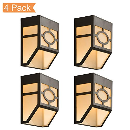 Solar Wall Lights Outdoor, Elitlife 2 Modes Solar Led Waterproof Lighting for Deck, Fence, Patio, Front Door, Stair, Landscape, Yard and Driveway Path,Warm White/Color Changing,Pack of 4
