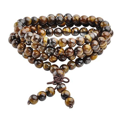 Jovivi Tibetan 6mm 108 Natural Tiger Eye Gemstone Beads Prayer Mala Bracelet Necklace