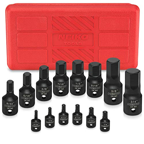 "Neiko 01142B Impact Grade Allen Bit Socket Set, SAE Hex Driver, 3/32"" to 3/4"" 