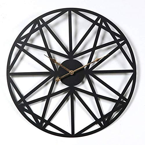 SHISEDECO Big Metal Decor Round Wall Clock Handmade Not-Ticking