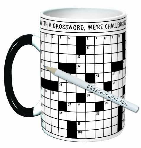 The Unemployed Philosophers Guild Crossword Puzzle Coffee Mug - Exercise Your Mind While You Warm Your Belly - Comes in a Fun Gift Box, White, 12 ounce (Game Crossword Puzzle)