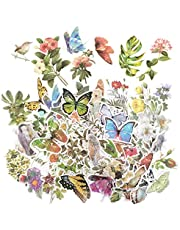 180 Pcs Vintage Washi Stickers for Journaling, Kawaii Green Plant Flower Leaves Butterfly Birds Decorative Paper Sticker, Botanical Decals for Laptop Scrapbooking Album Planner Diary by RuiChy