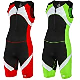SLS3 Men`s Triathlon Tri Race Suit 1 Pocket - great from Sprint to Ironman (Lime, XL)