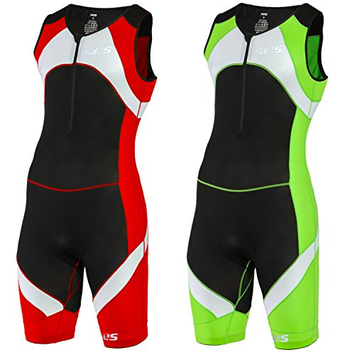 SLS3 Men`s Triathlon Tri Race Suit 1 Pocket - great from Sprint to Ironman (Red, - With Sleeves Suit Tri