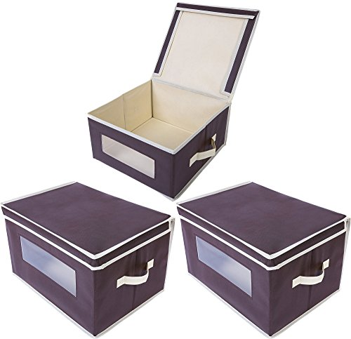 Juvale Storage Bins - 3-Pack Foldable Storage Cubes, Decorative Fabric Storage Bins with Lids and Clear Windows, Household Organization, Closet, Office Supplies, Brown, 16.25 x 12 x 10 Inches