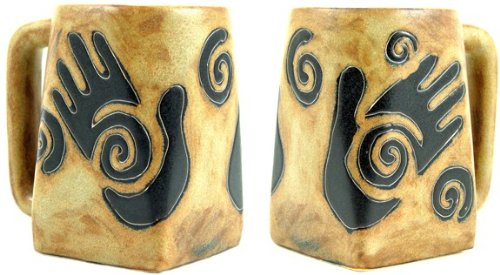 One (1) MARA STONEWARE COLLECTION - 12 Ounce Coffee Cup Collectible Square Bottom Mug - Healing Hands ()