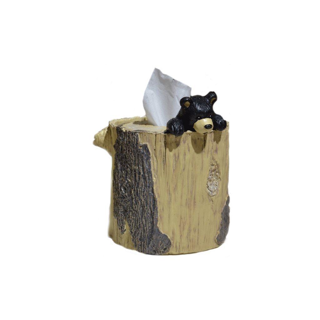 Lyqqqq Tissue Box European Fashion Pastoral Cute Imitation Wood Bear Resin Paper Towel Tube Paper Tube Toilet Paper Containers