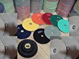 Diamond Polishing Pads 7 inch Wet/Dry 12+1 Pieces Set Pad 3mm Thick...