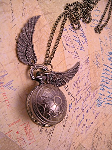 Steampunk Web Etched Brass Golden Snitch Harry Potter Pocket Watch with 30 Inch Brass Chain ()