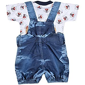 Kuchipoo Baby Dungaree Set with T-Shirt Blue & White