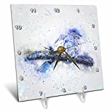 3dRose Andrea Haase Animals Illustration - Blue Watercolor Bird Painting - 6x6 Desk Clock (dc_282469_1)