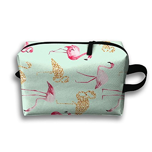 (Travel Toiletries Bag Pink Gold Flamingo Phone Coin Cosmetic Pouch Tote Multifunction Organizer Storage Bag)