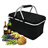 KINGSO 30L Large Insulated Picnic Basket Protoble Cooler Bag Folding Collapsible Tote Basket with Handles and Zipper for Outdoor Camping Hiking Fishing Black
