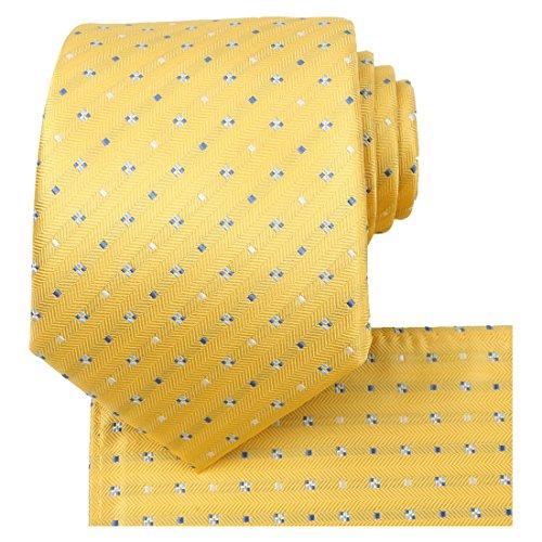 Yellow Mens Tie - KissTies Mens Tie Yellow Dots Necktie + Pocket Square + Box