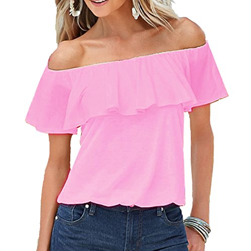 Off The Shoulder Peasant Top - BOSSAND Women's Short Sleeve Shirt Cotton Strapless Blouses Off Shoulder Tops (XX-Large, Pink)