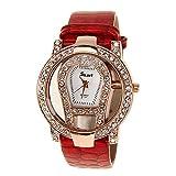 ELEOPTION Classic Rose Gold Rhinestone Quartz Watch with Luminous Design Analog Wristwatches Calfskin Leather Strap (Red)