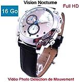 Montre Caméra Cachée Espion 16 Go Full HD 1920x1080p Vision Nocturne Modèle CuirHD M16
