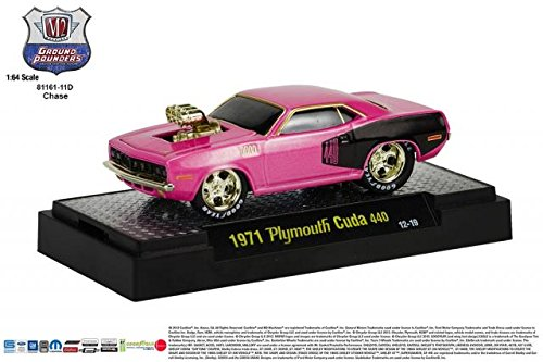 14g Four - Limited Edition Gold Chase Piece 1971 PLYMOUTH CUDA 440 (Pink / Black) M2 Machines Ground Pounders Release 11 2013 Castline Premium Edition 1:64 Scale Die-Cast Vehicle (12-19G)