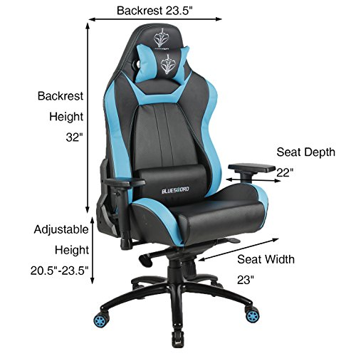 51DrkLiP9QL - BLUE-SWORD-Breathable-Leather-Computer-Gaming-Chair-Ergonomic-Office-Chair-Large-Size-Racing-Style-High-back-Adjustable-With-Lumbar-Support-and-Headrest